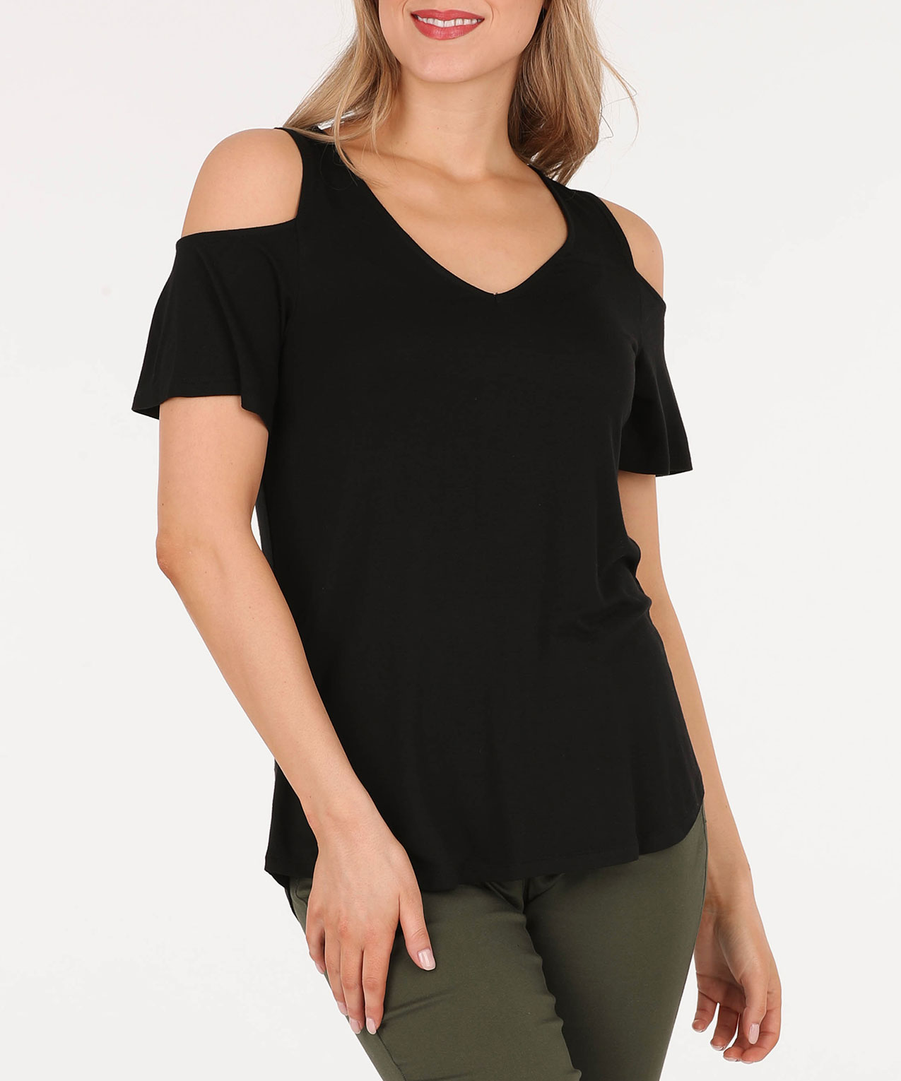 Cold Shoulder V-Neck Top, Black, hi-res