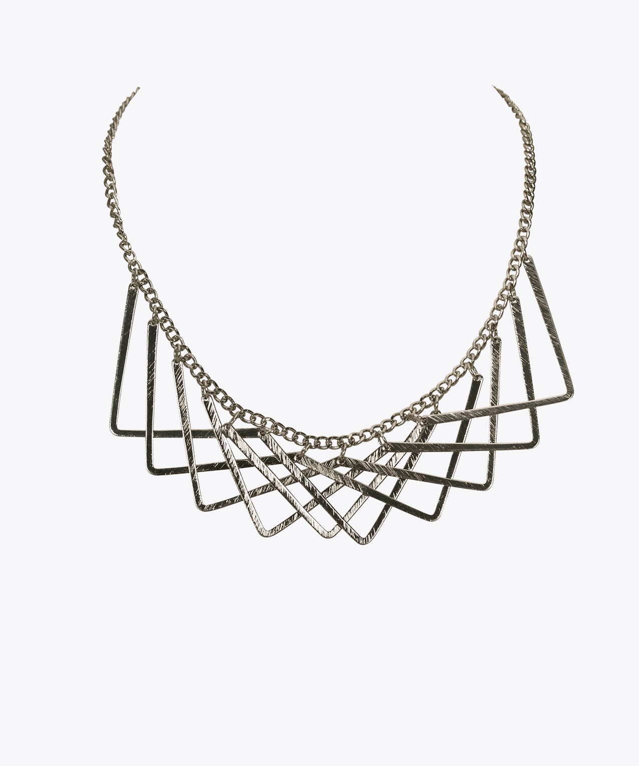 Overlapping Metal Triangle Statement NEcklace, Rhodium, hi-res