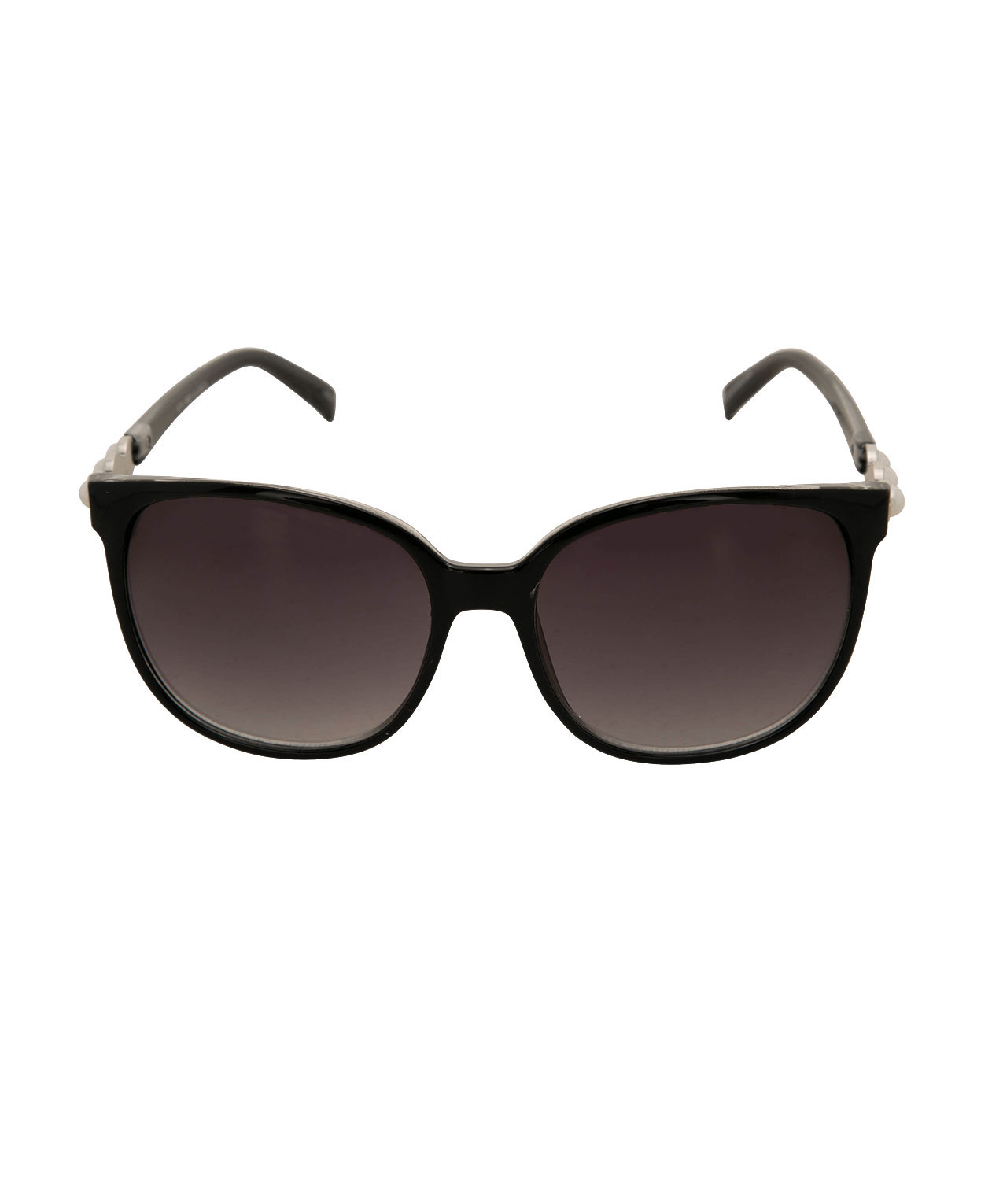 Pearl Embellished Round Sunglasses, Black/Ivory/Silver, hi-res