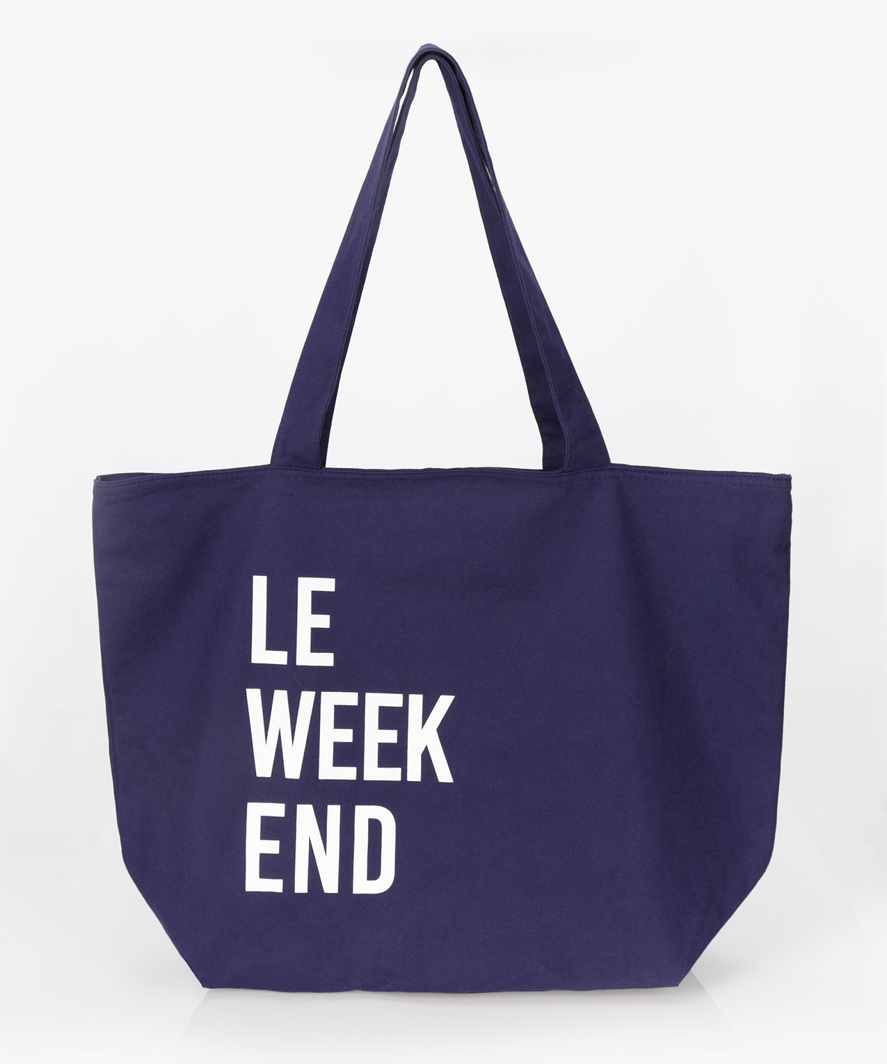 Le Weekend Canvas Tote Bag, Mid Blue/White, hi-res