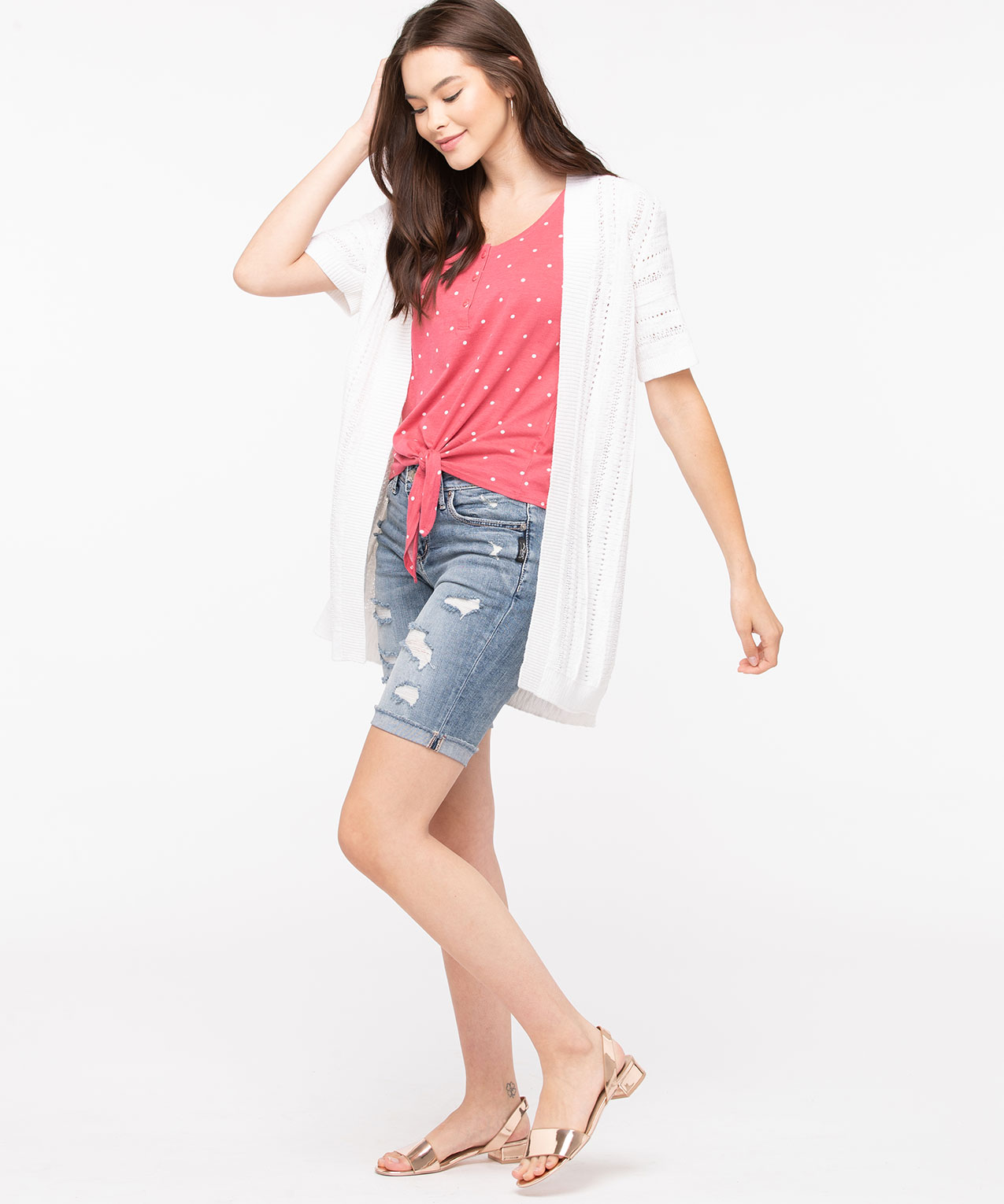 Short Sleeve Pointelle Open Cardigan, Pearl, hi-res