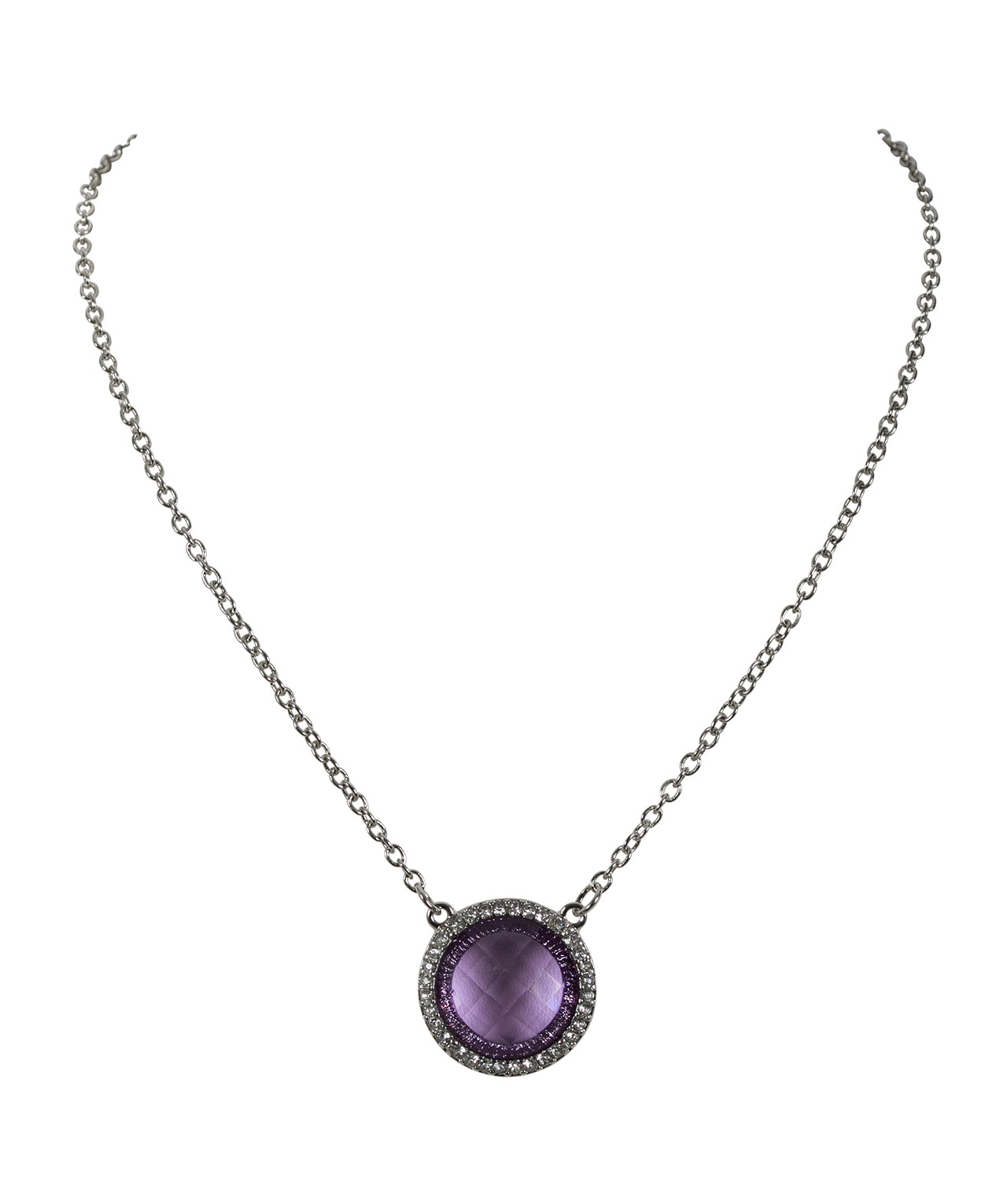 ctw three pendant necklace purple gold amethyst in stone