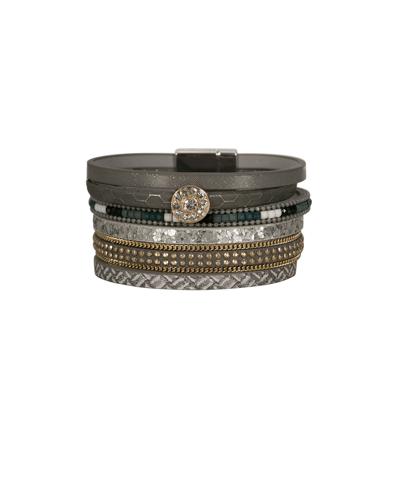 Crystal & Faux Leather Wrap Bracelet, Grey/Teal/Gold/Rhodium, hi-res