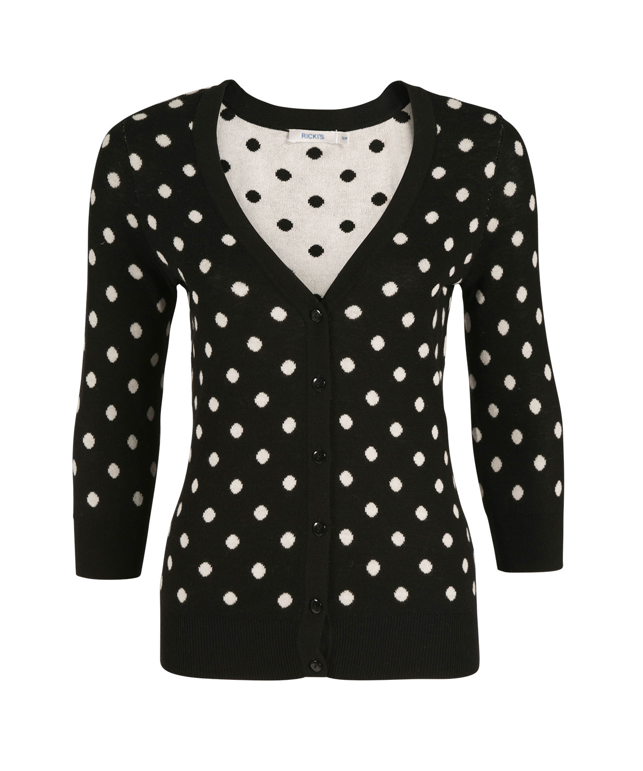 """Charming polka dot, we choose you (and chic, cropped sleeves) to energize our take on the classic cardigan with an easy snap front. Petite polka dot cardigan in ecru with black Long sleeves Snap closure Unlined Regular: Approx. 21 1/2"""" from shoulder Petite: Approx. 20 ."""