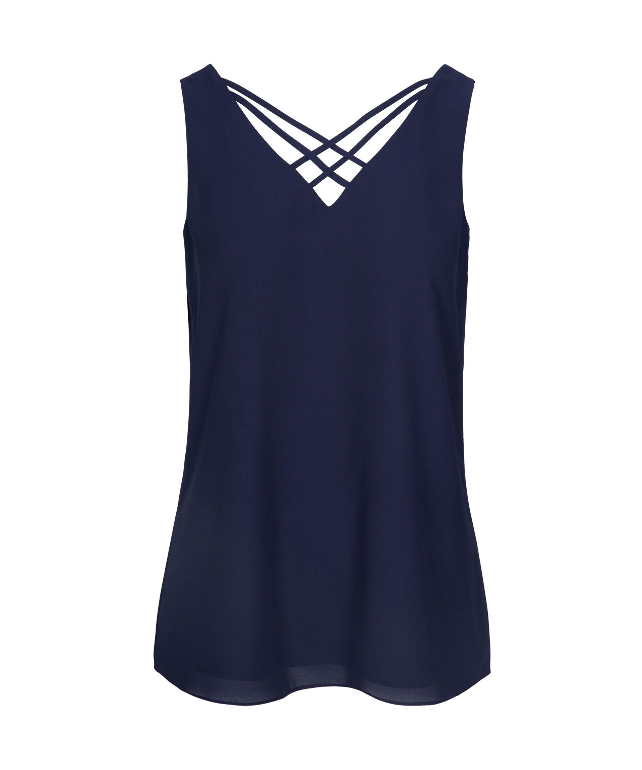 Criss-Cross Double-V Sleeveless Blouse, Deep Sapphire, hi-res