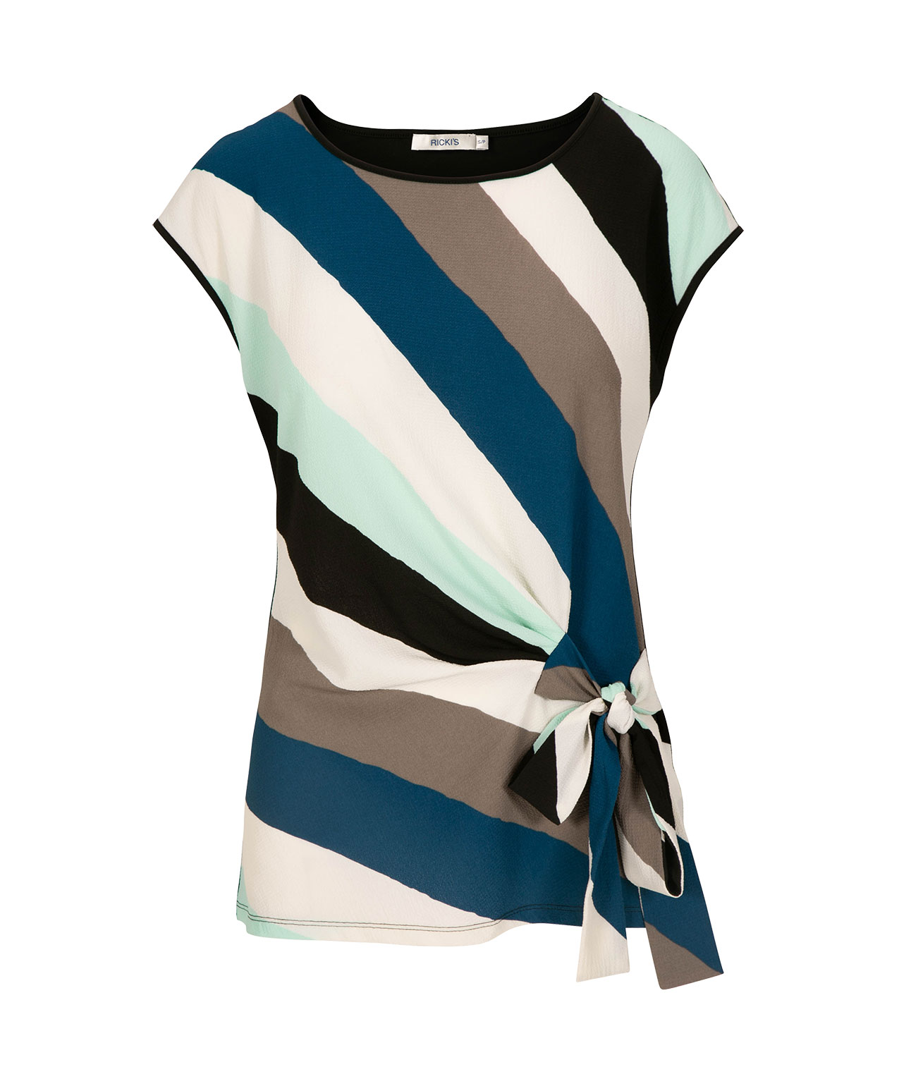 Extended Sleeve Side-Tie Top, Teal/Grey/Mint/Black, hi-res