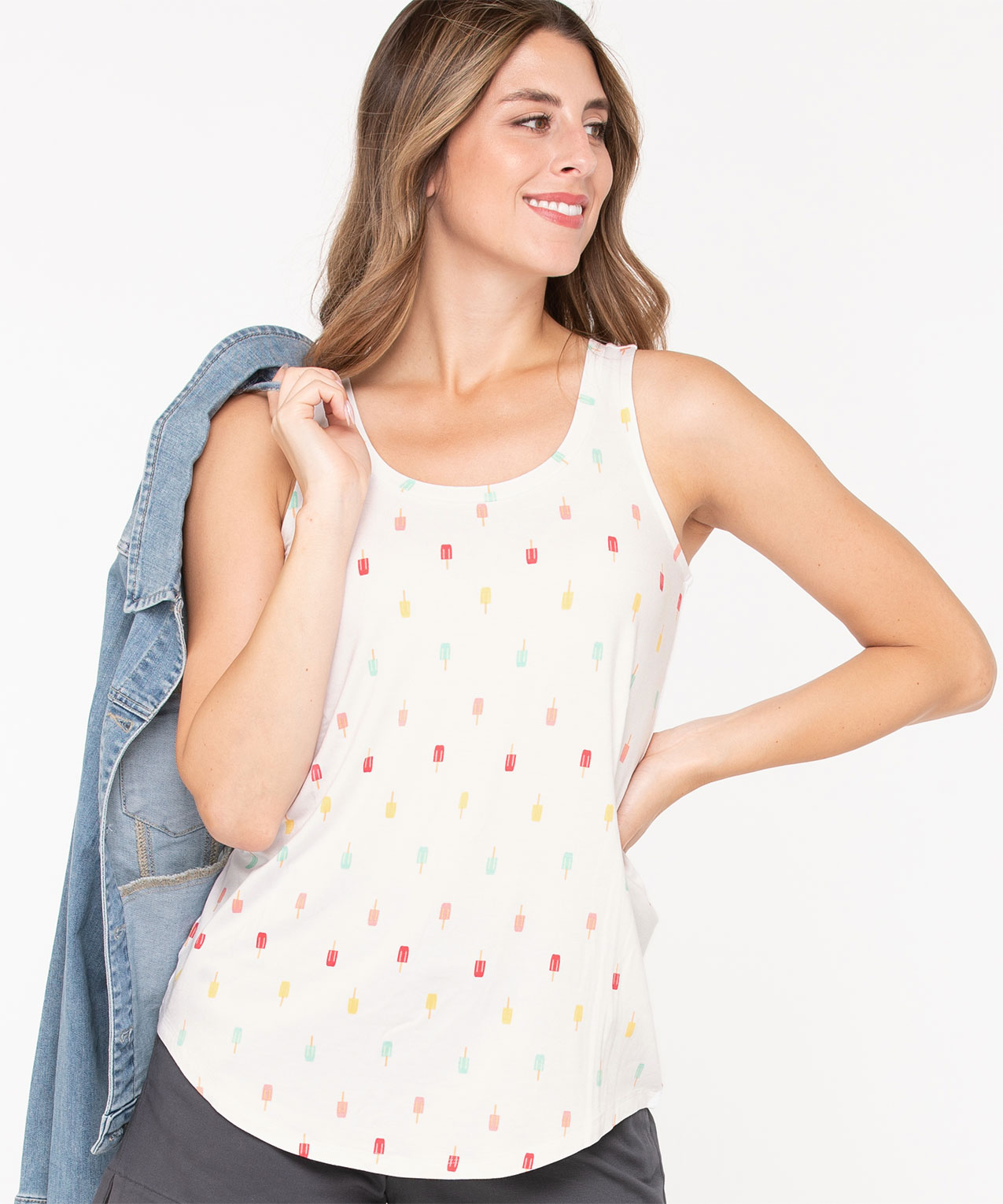 Sleeveless Popsicle Graphic Top, Pearl, hi-res