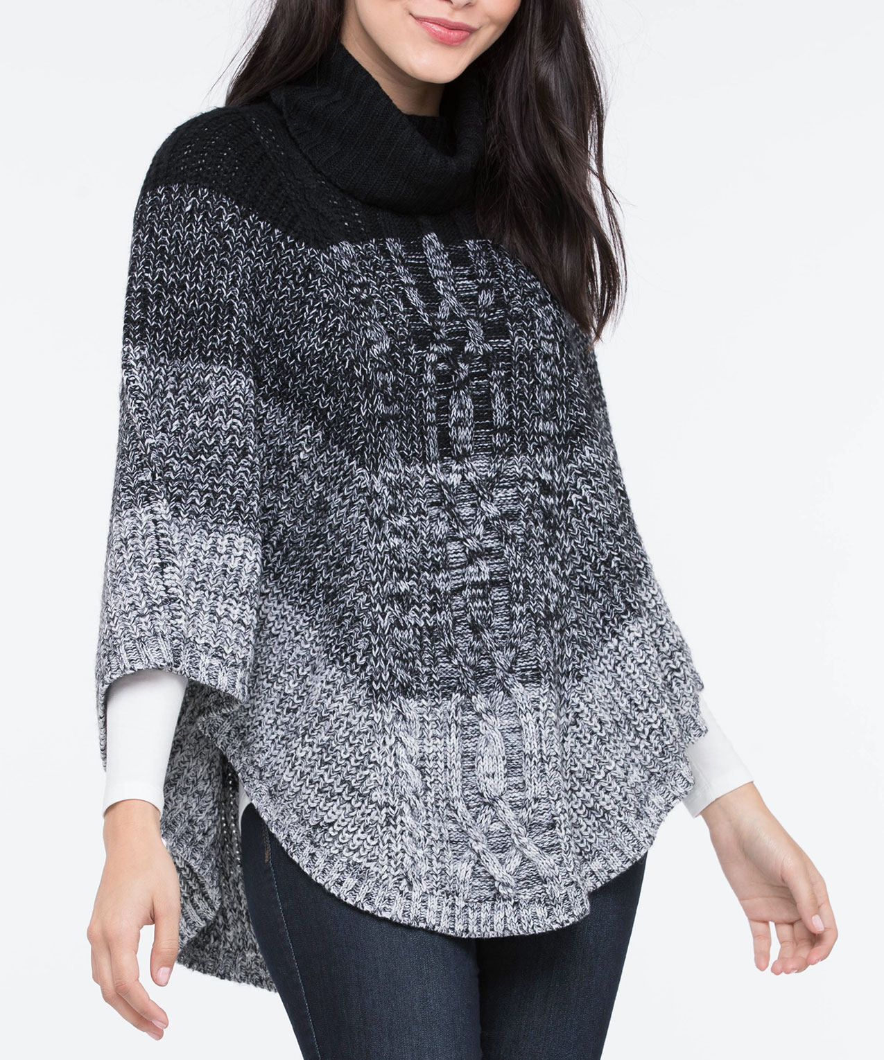 Colour Works Womens Cowl Neck Poncho