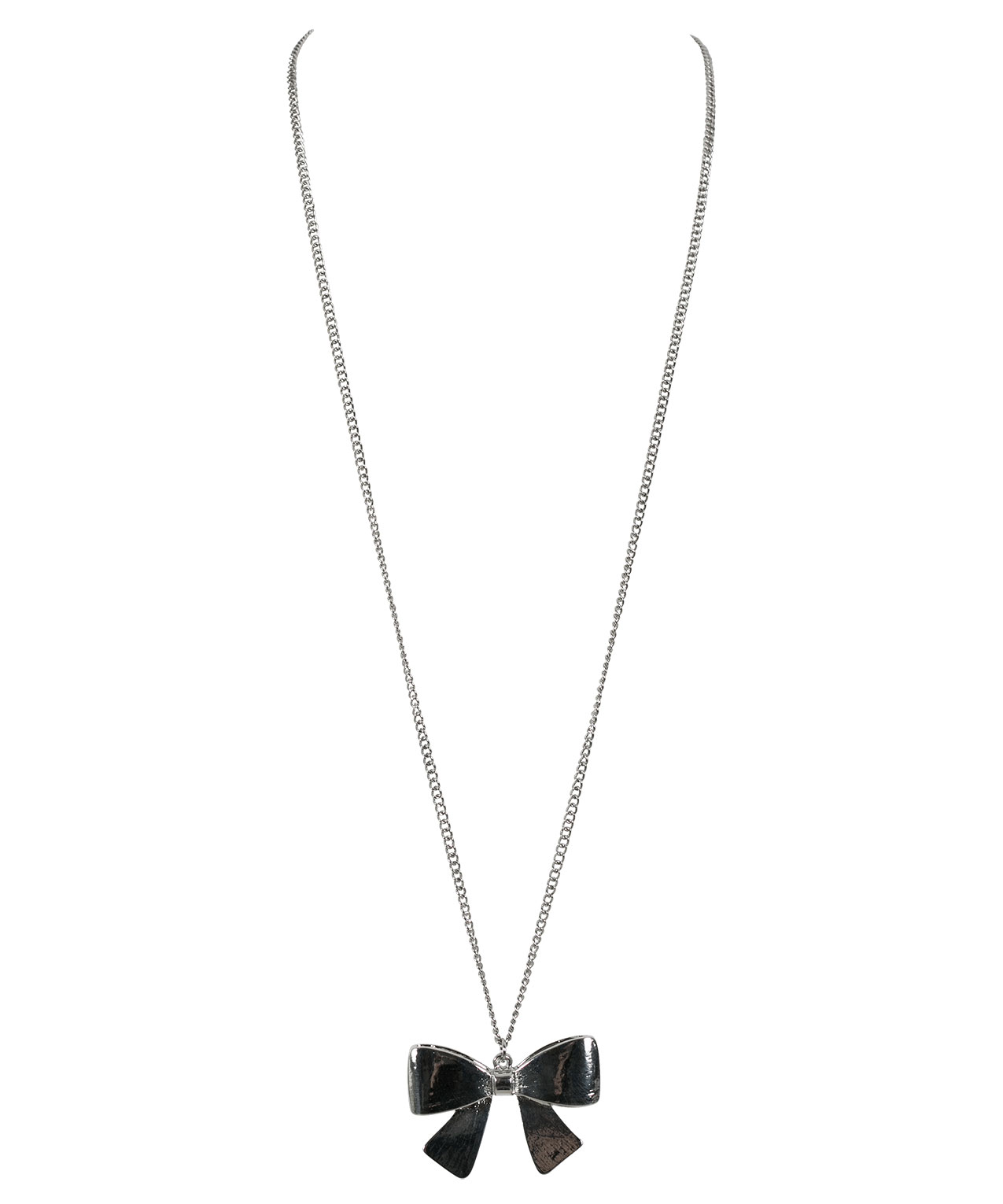 Bow pendant necklace rickis bow pendant necklace rhodium hi res aloadofball Images