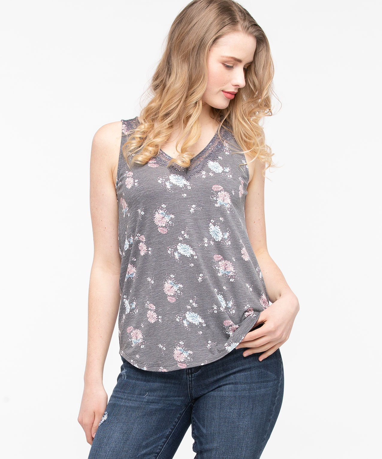 Sleeveless Lace Trim V-Neck Top, Heather Grey/Rose Petal/Sky Blue, hi-res