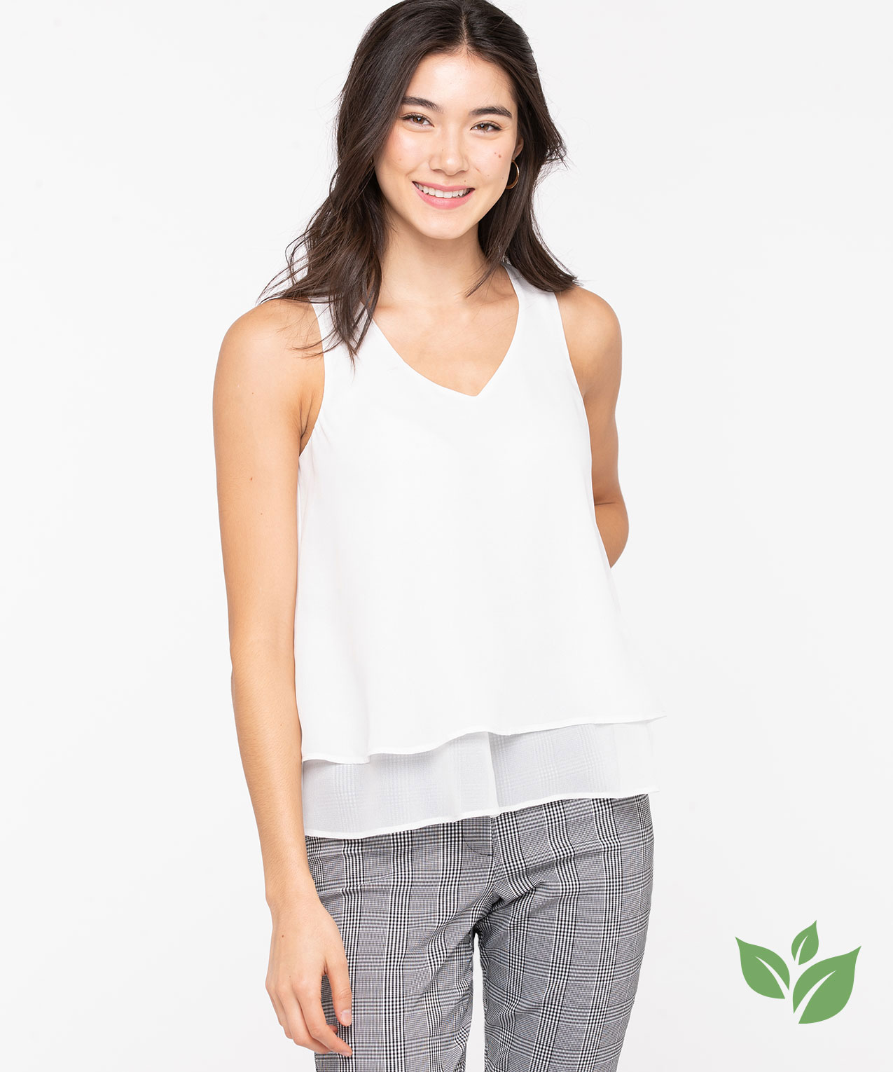 Recycled Sleeveless Layered Blouse, Pristine, hi-res