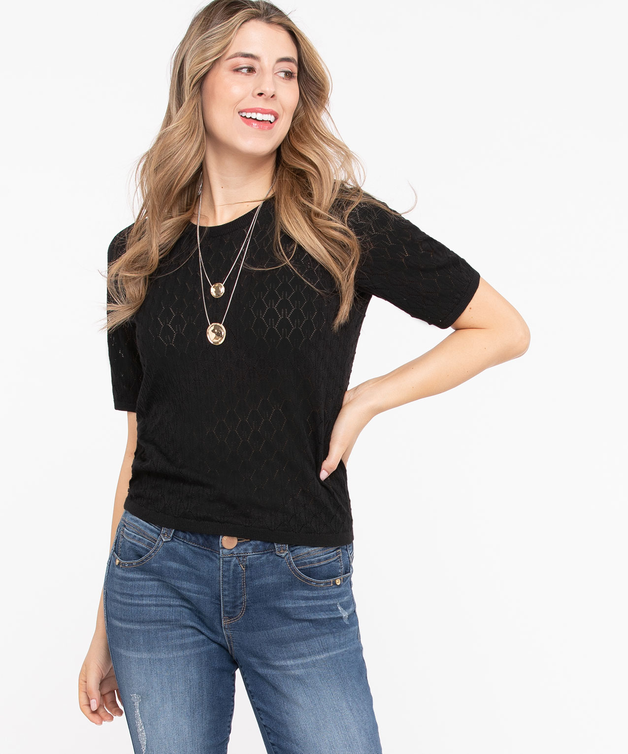Short Sleeve Pointelle Sweater, Black, hi-res