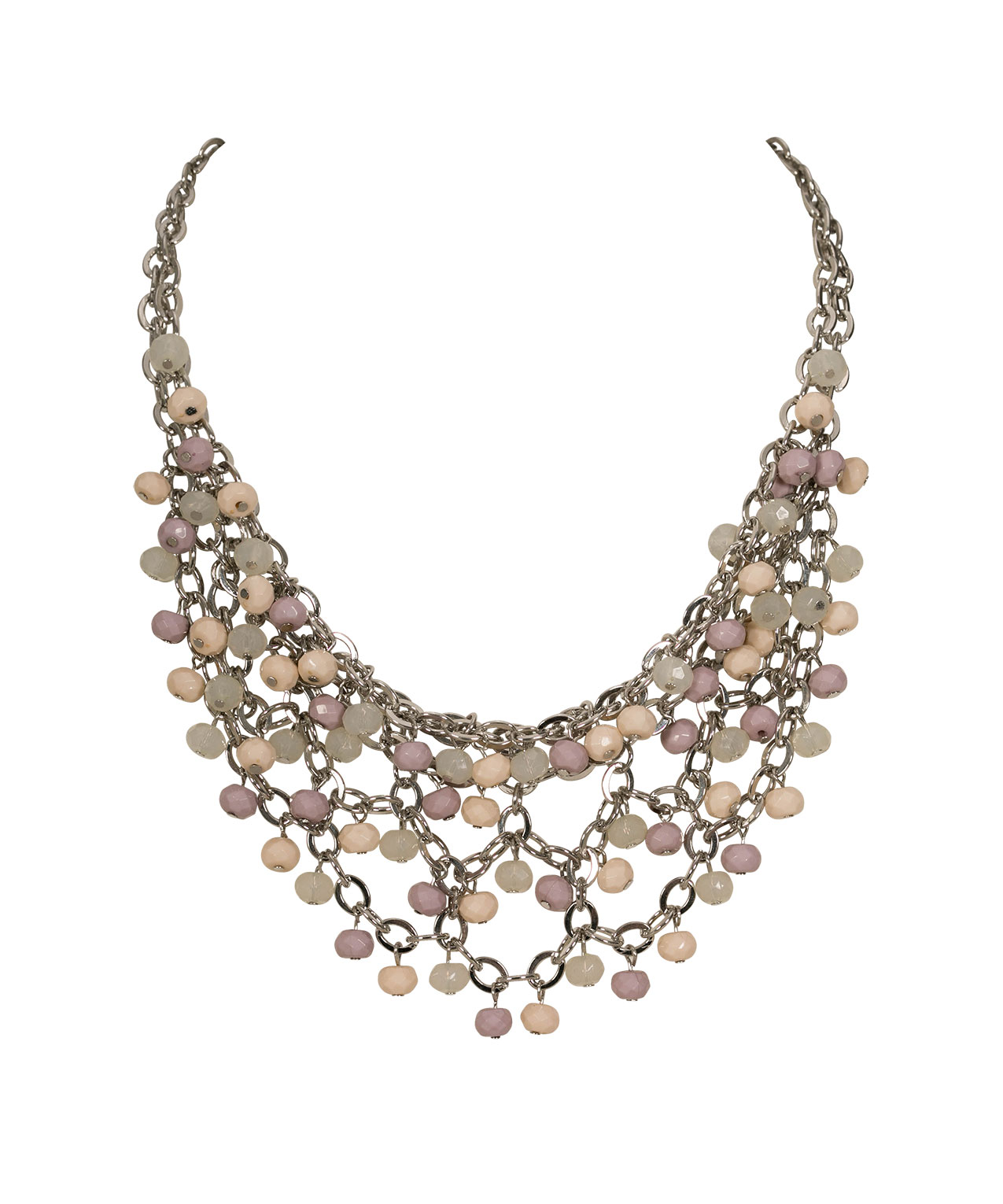 Faceted Stone Cluster Statement Necklace, Iced Violet/Milkshake/Rhodium, hi-res