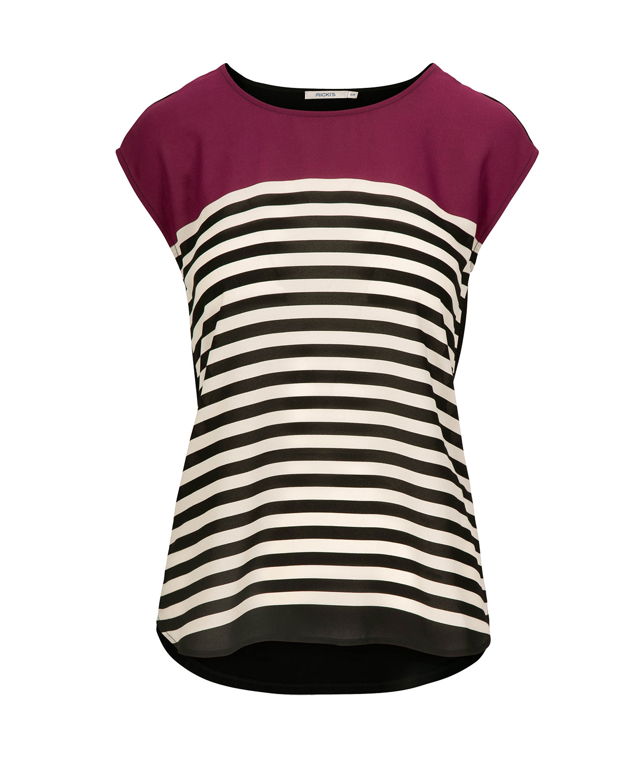 Extended Sleeve Mixed Media Top, Black Cherry/Black/Pearl, hi-res