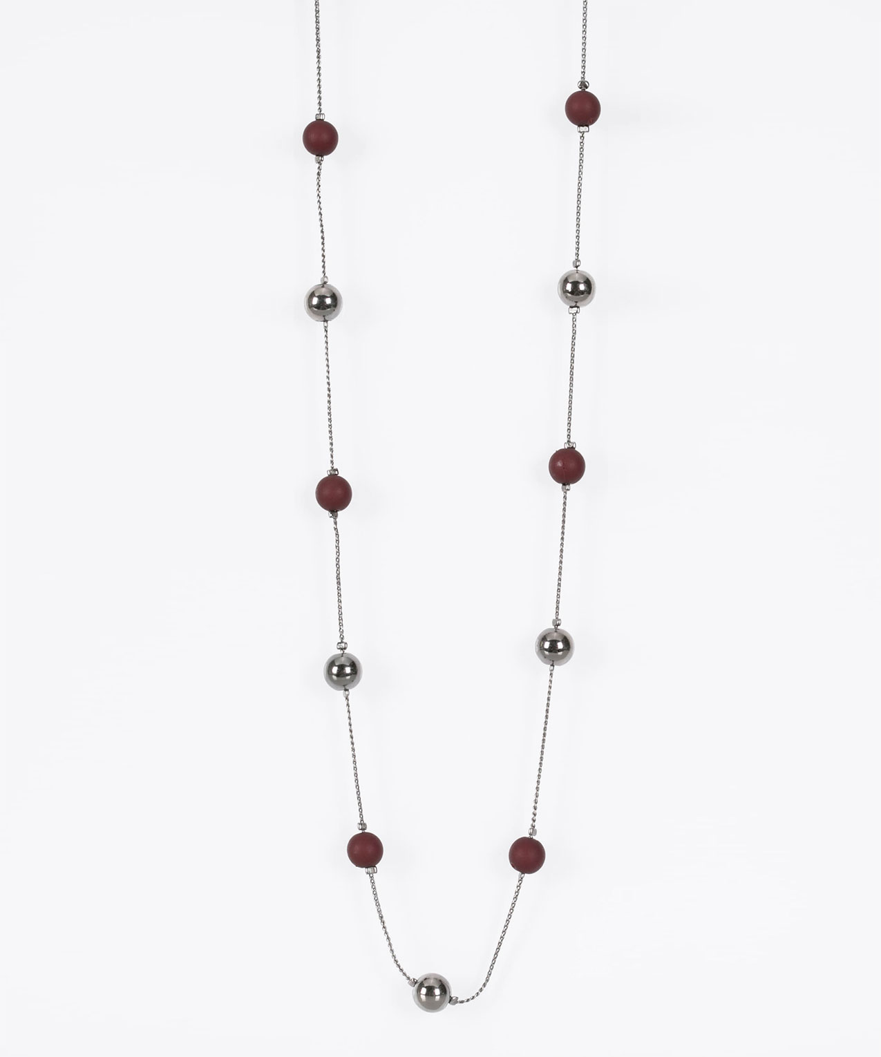 Stationed Bead Necklace, Hematite/Burgundy, hi-res