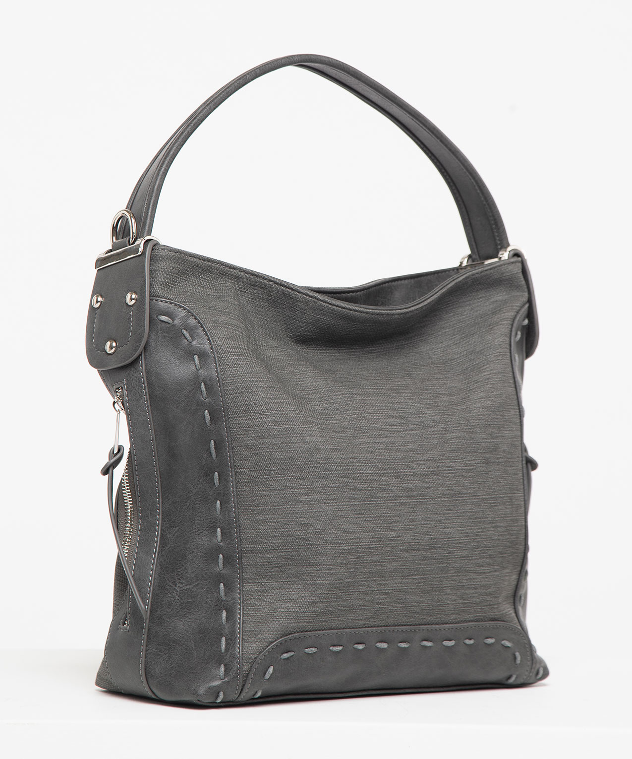 Whipstitch Textured Bucket Handbag, Mid Heathered Grey/Rhodium, hi-res