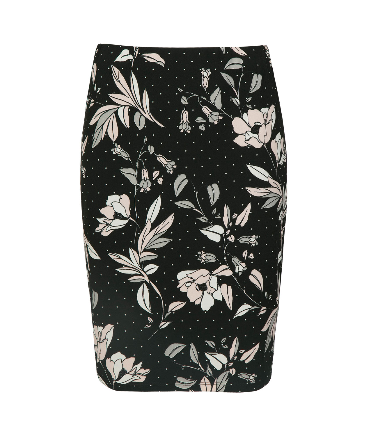 Floral Dot Pencil Skirt, Black/Pink/Grey, hi-res