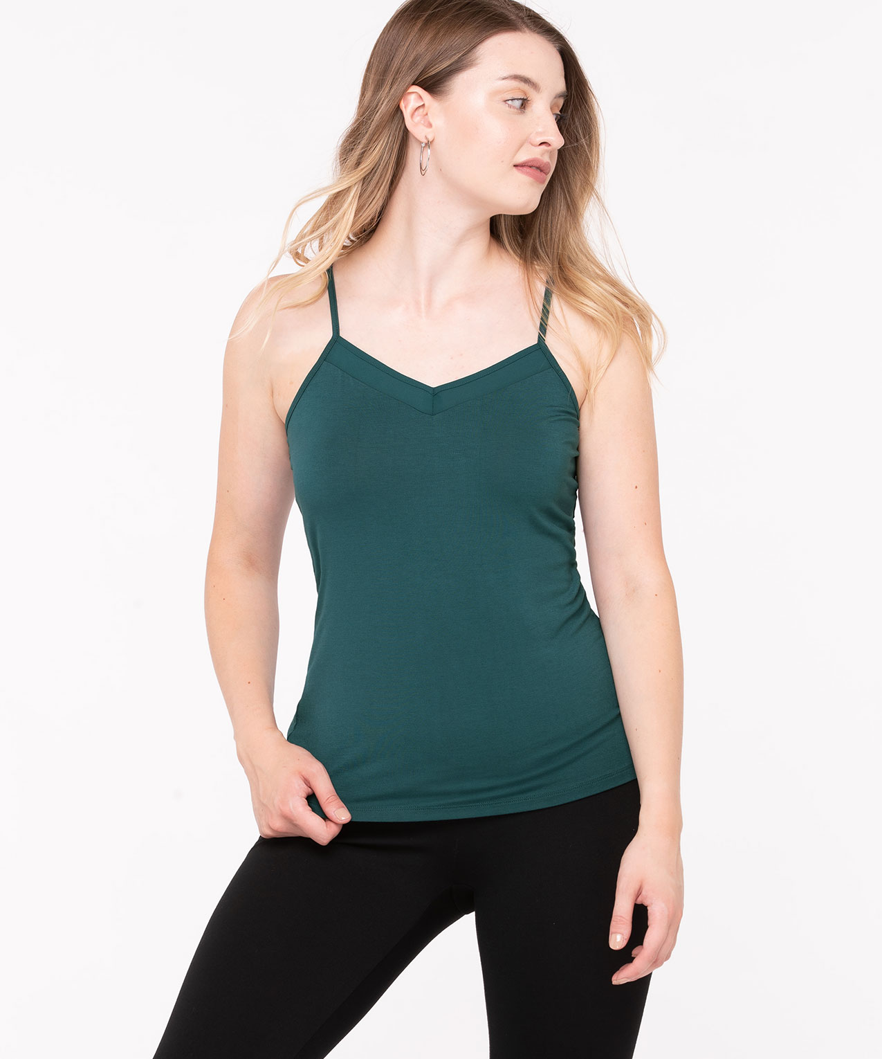 Chiffon Inset Strappy Cami, Teal, hi-res