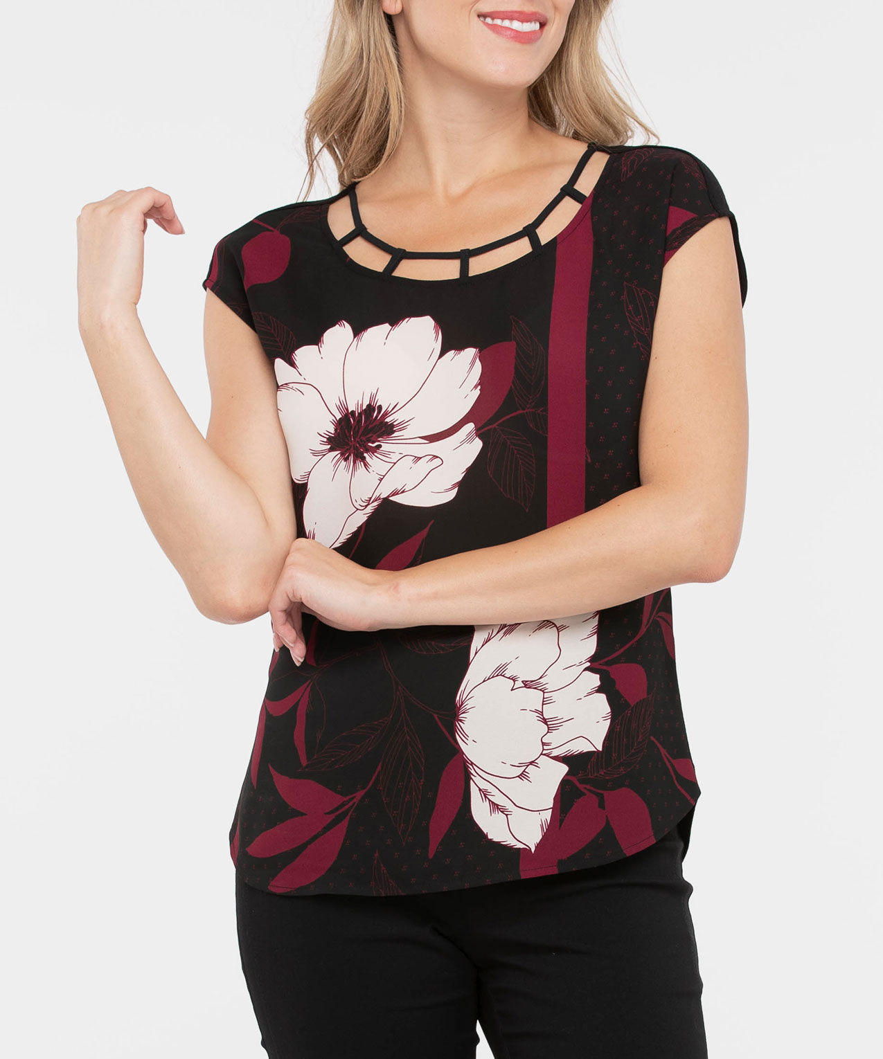 Extended Sleeve Mixed Media Top, Black/Burgundy/Pearl, hi-res