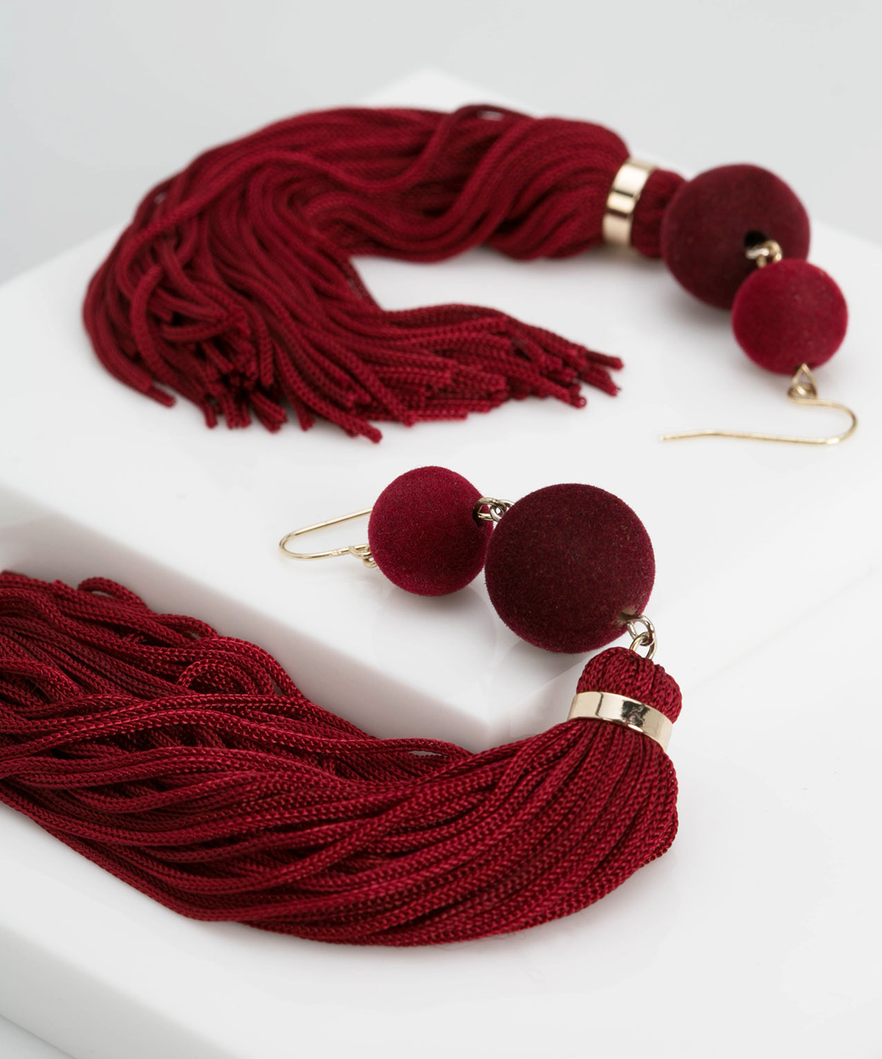Velvet Ball & Tassel Earring, Burgundy/Gold, hi-res