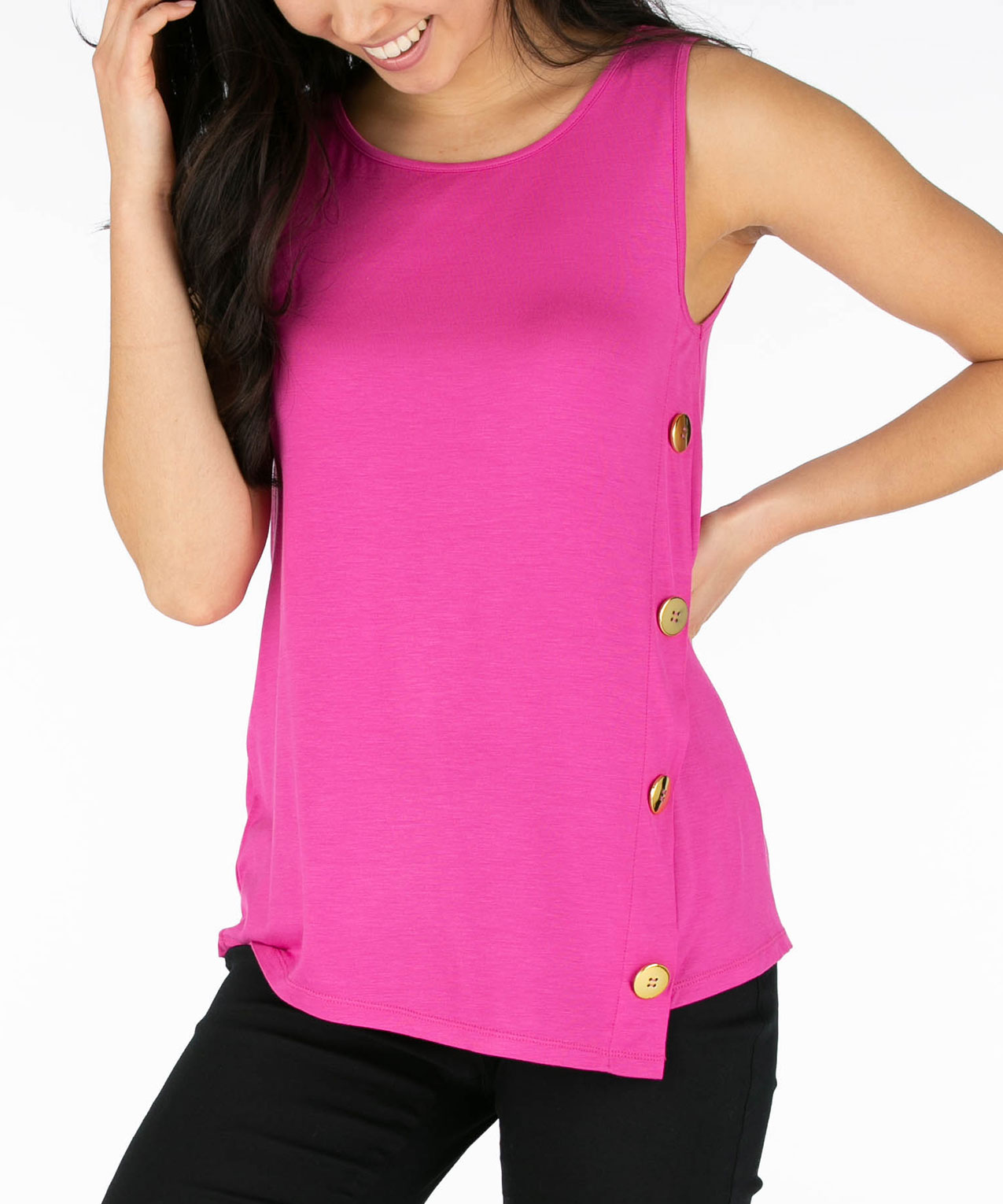 Sleeveless Asymmetrical Button-Trim Top, Hot Pink, hi-res