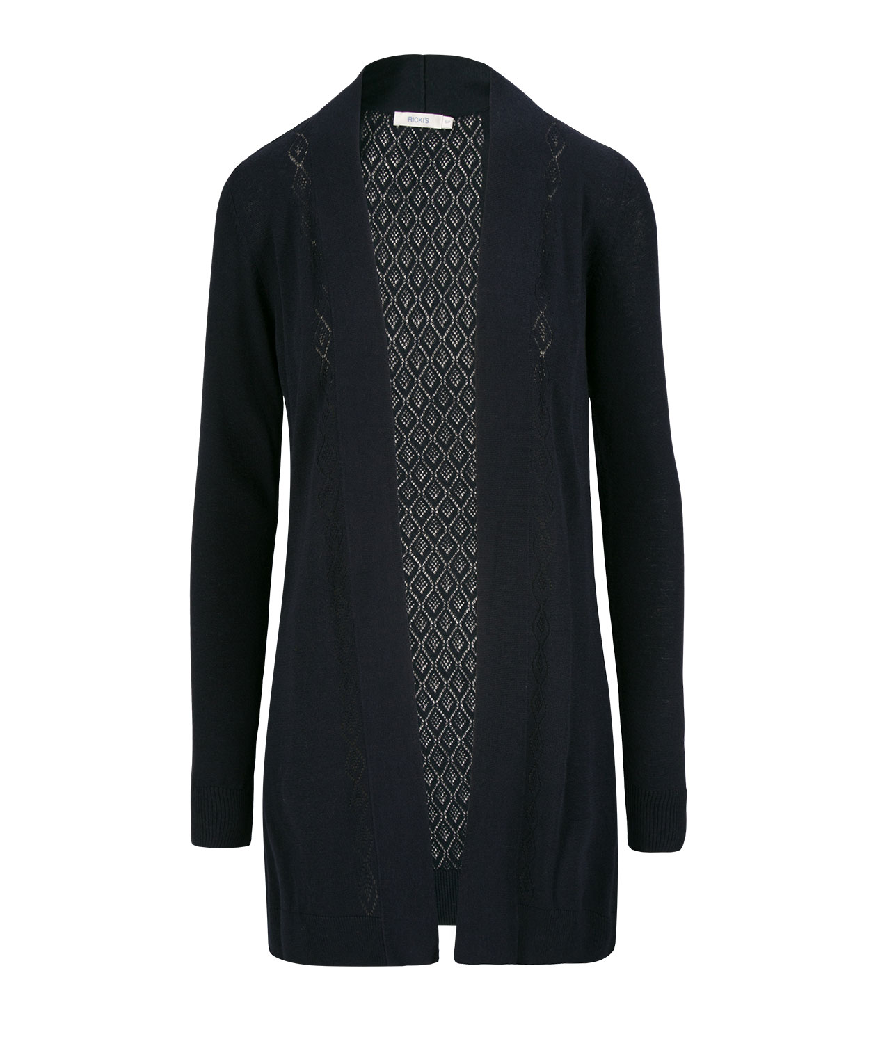 Pointelle Trim Tunic Cardigan, Navy, hi-res