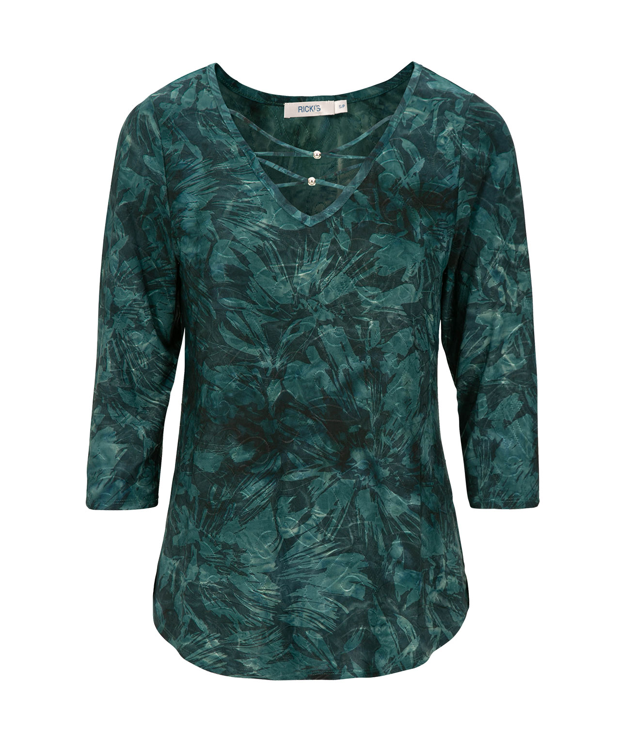 Criss-Cross Neck Textured Top, Jade, hi-res