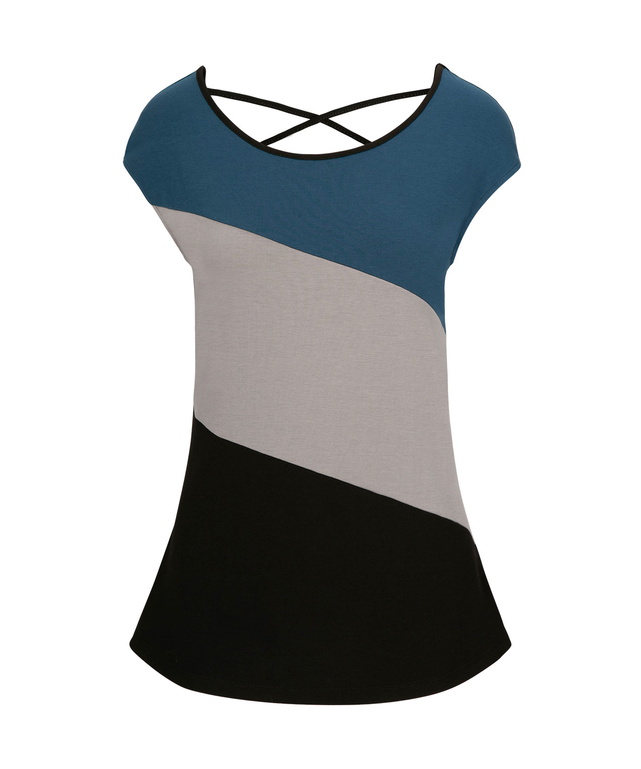 ed8a616dc1f5 Colour Block Cross Back Top