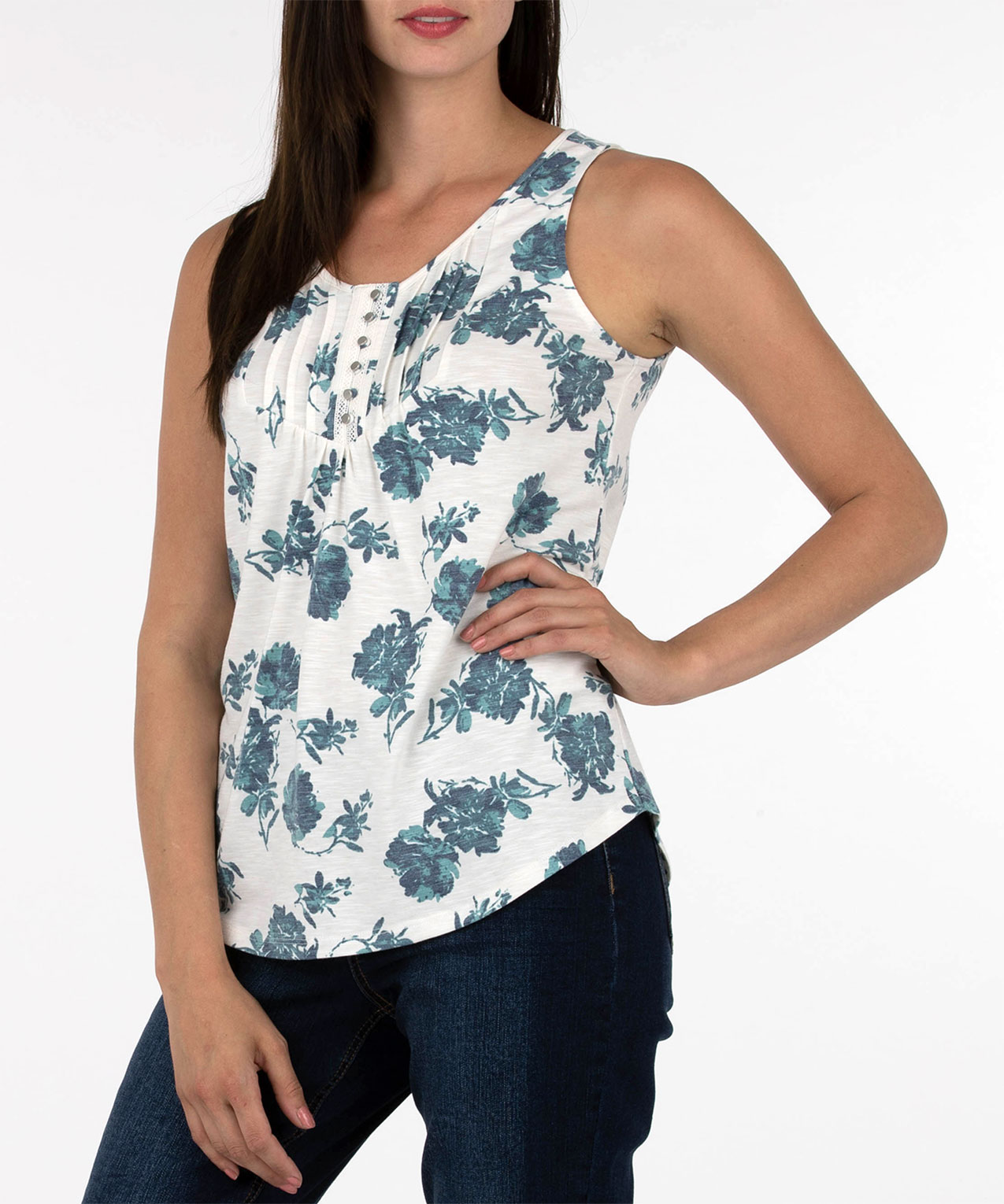 Sleeveless Button Trim Pleated Top, White Pt, hi-res