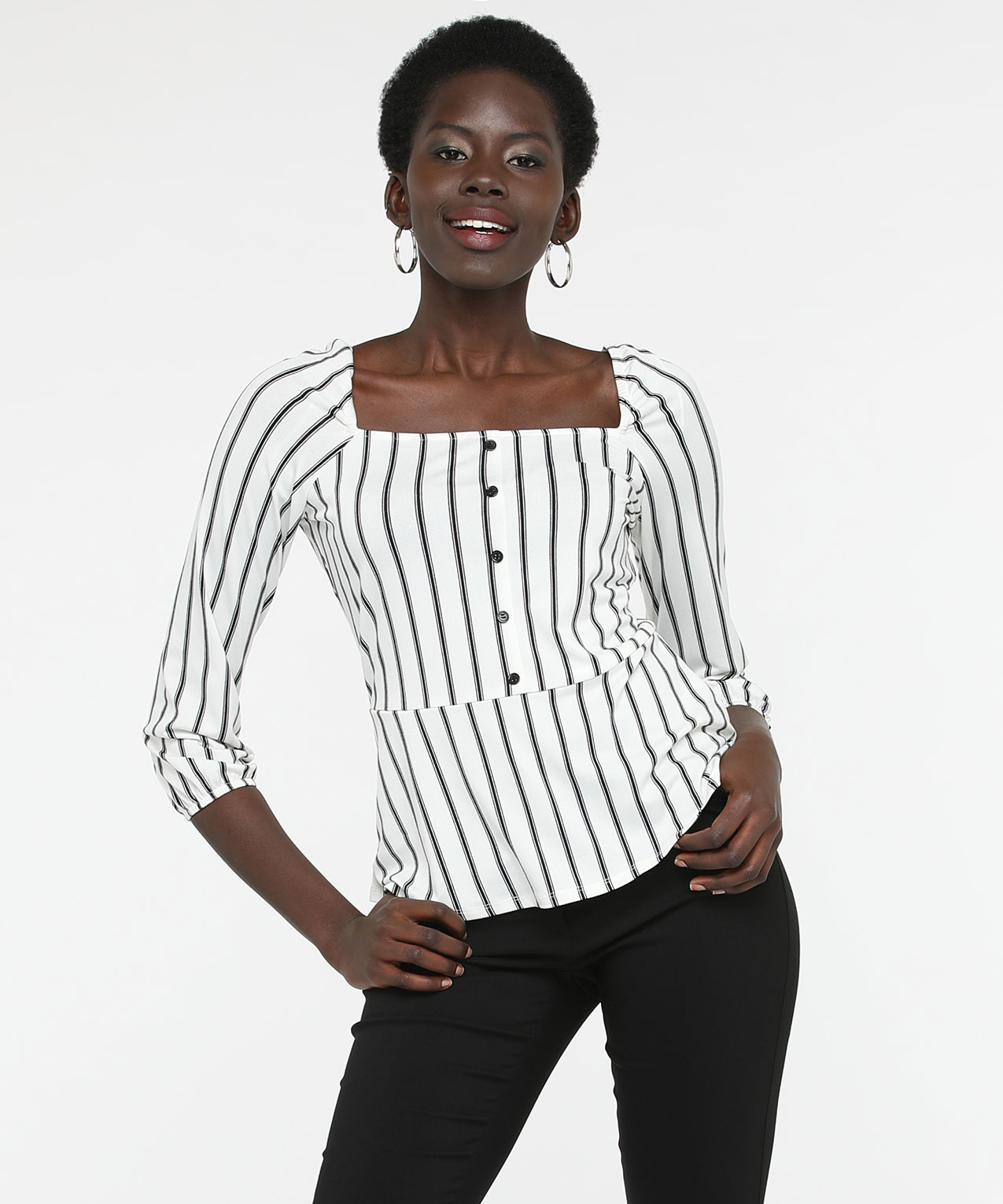 Square Neck Striped Peplum Top, Black/Pearl, hi-res