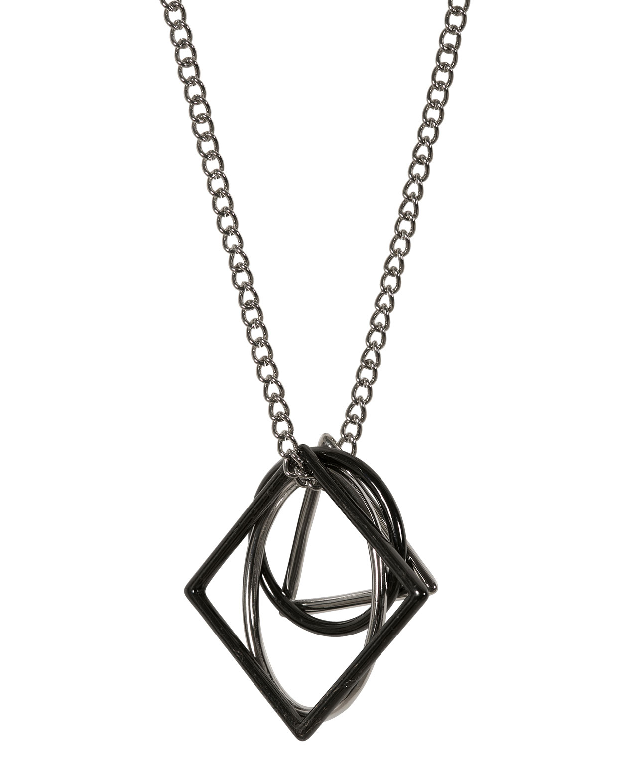 Geometric shapes pendant necklace rickis geometric shapes pendant necklace rhodiumhematite hi res mozeypictures Gallery