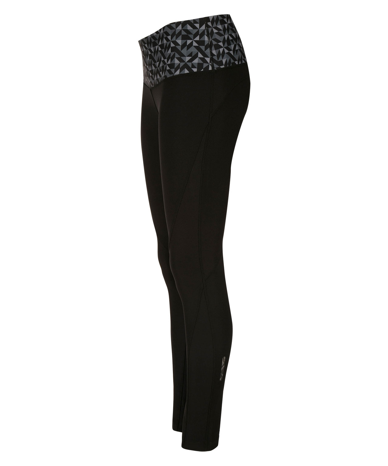 Active Contrast Band Legging Rickis Geo Pants Black Grey Print Hi Res