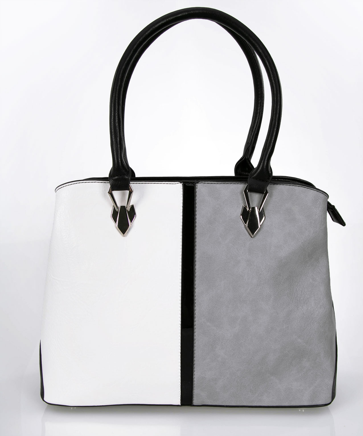 Neutral Colourblock Handbag, Pearl/Grey/Black, hi-res